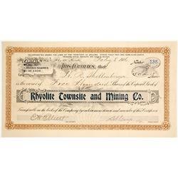 Rhyolite Townsite & Mining Co. Stock Certificate