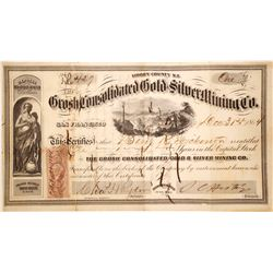 Grosch Consolidated G & S Mining Company Stock Certificate, 1863