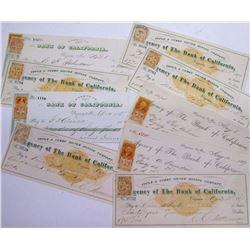 Virginia City, Nevada Mining Checks w/ Nevada Revenue Stamps