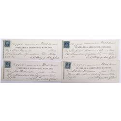 Four Territorial Virginia City, Nevada Checks signed by Mining President  John Earl