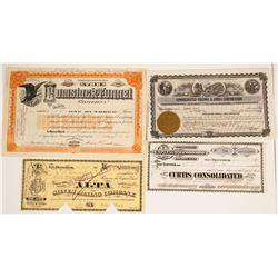 Four Virginia City Mining Stock Certificates