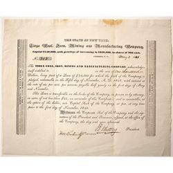 Tioga Coal, Iron, Mining & Manufacturing Loan Certificate, 1841