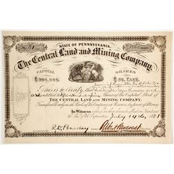 Central Land & Mining Company Stock Certificate