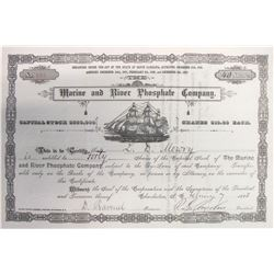Marine & River Phosphate Co. Stock Certificate issued to L.D. Mowry