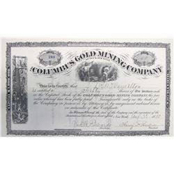 Columbus Gold Mining Co. of the Black Hills Stock Certificate