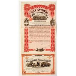 Texas Copper Mining Stock Certificate Plus a Texas Bond