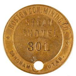 Boston Con. Mining Co. Brass Steam Shovel Tag