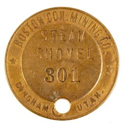 Boston Con. Mining Co. Brass Steam Shovel Tag