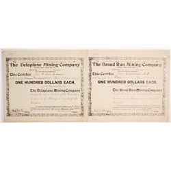 Two Broad Run, Virginia Mining Stock Certificates