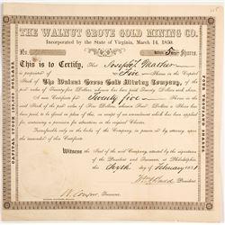 Walnut Grove Gold Mining Co. Stock Certificate