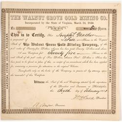 Walnut Grove Gold Mining Co. Stock Certificate