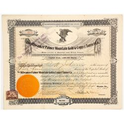 Milwaukee Palmer Mountain Gold & Copper Tunnel Co. Stock Certificate