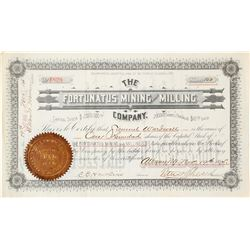 Fortunatus Mining & Milling Co. Stock Certificate, 1895, Bald Mtn., Wyoming