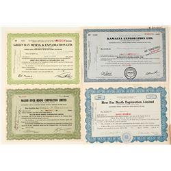 Four Different Alberta Mining Stock Certificates