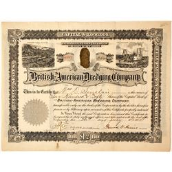 British American Dredging Company Stock Certificate w/ Nugget Vignette