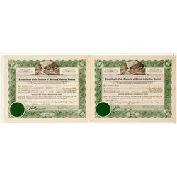 Cons. Gold Alluvials of British Columbia, Ltd. Stock Certificates
