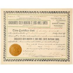 Consolidated Green Mountain St. Louis Mines, Ltd. Stock Certificate