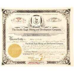 Double Eagle Mining & Development Co. Stock Certificate, Kaslo, B.C.
