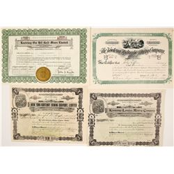 Four Different Kootenay Mining Stock Certificates