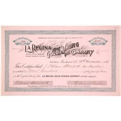 La Regina Gold Mining Company Stock Certificate, 1896
