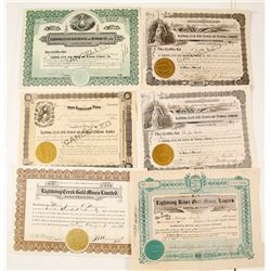 Six Lightning Creek Gold Mining Stock Certificates, British Columbia