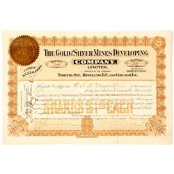 The Gold & Silver Mines Dev. Co. Ltd. Stock Certificate, Rossland, 1897