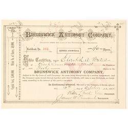Brunswick Antimony Company Stock Certificate, 1885