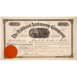 Hibbard Antimony Company Stock Certificate, New Brunswick, 1880