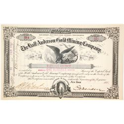 Hall Anderson Gold Mining Co. Stock Certificate, Nova Scotia, 1885