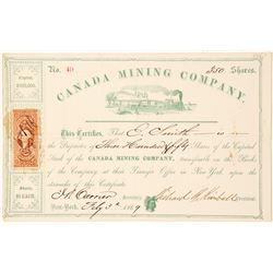 Canada Mining Company Stock Certificate, 1869, Lake Huron
