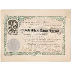 Cobalt Silver Queen, Ltd. Stock Certificate, Ontario, 1907