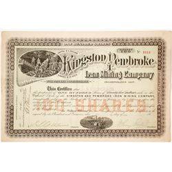 Kingston & Pembroke Iron Mining Co. Stock Certificate, Ontario, 1887