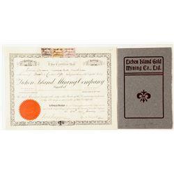 Lichen Island Gold Mining Co. Prospectus & Stock Certificate, Ontario