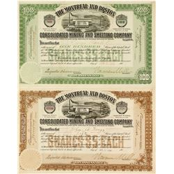 Montreal & Boston Cons. Mining & Smelting Co. Stock Certificate Pair