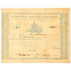 Neepigon Mining Company Stock Certificate, 1850, Ontario