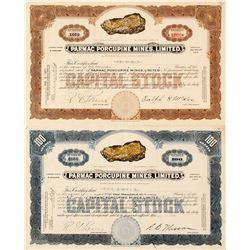 Parmac Porcupine Mines, Ltd. Stocks feat. Fabulous Gold Specimen Vignette