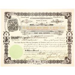 The Gold Bullion Mining Co. of Ontario Stock Certificate