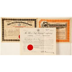 Three Silver Leaf Mining Stock Certificates, Ontario