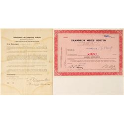 Chibougamau Area Mining Stock Certificates, Quebec