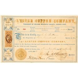 Lyster Copper Company Stock Certificate, 1864, Nelson, Canada East