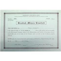 Beadak Mines Ltd. Stock Certificate, Yukon, 1951