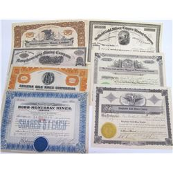 Seven Different Canadian Mining Stock Certificates
