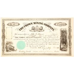 The Crown Mining Company Stock Certificate, Canada, 1866