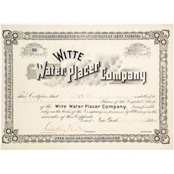 Witte Water Placer Co. Stock Certificate, Paramaribo