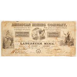 American Mining Co., Lancaster Mine, Stock Certificate