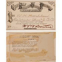 Central Branch Union Pacific Railroad Annual Pass, 1876