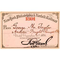 New York, Philadelphia & Norfolk Railroad 1891 Pass