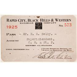 Rapid City, Black Hills & Western Railroad Pass