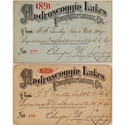 Androscoggin Lakes Transportation Co. Steamer Passes