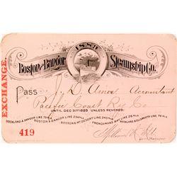 Boston & Bangor Steamship Co. Annual Pass, 1889